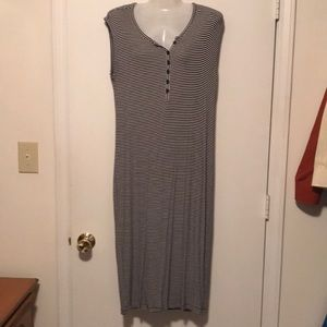 Old Navy black& white striped long dress